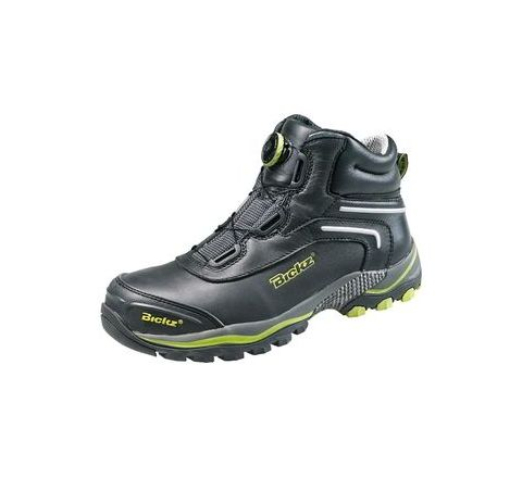 Bata Bickz 305(804-6043) 9 No. Black, Yellow Colour Steel Toe Shoes