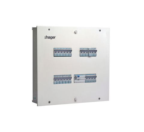 Hager VYT08CH (8 Way 8+24 Modules) TPN Distribution Board - Acrylic Door