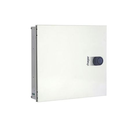 Hager VYT08GH (8 Way 8+24 Modules) TPN Distribution Board - Acrylic Door