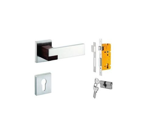 Dorset CORNUS Lever Handle Set On Roes With Cylinder Escutcheon Silver Chrome Finish