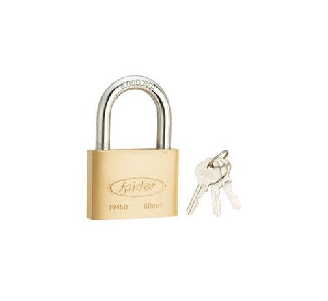 Spider Cylindrical Solid Brass Pad Lock With 3 Keys - PM60