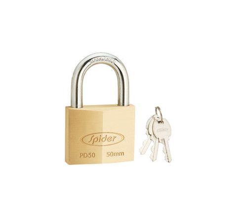 Spider Cylindrical Solid Brass Pad Lock With 3 Keys - PD50