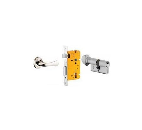 Dorset 60 mm Lever Handle Lock Set with Knob and Key Cylinder Stainless Steel ML LY OR