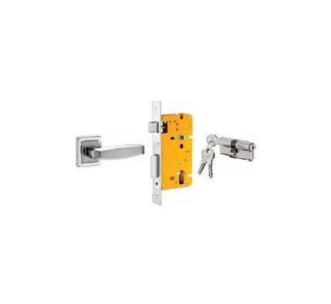 Dorset 70 mm Lever Handle Lock Set with Both Side Key Cylinder Stainless Steel ML BA OR
