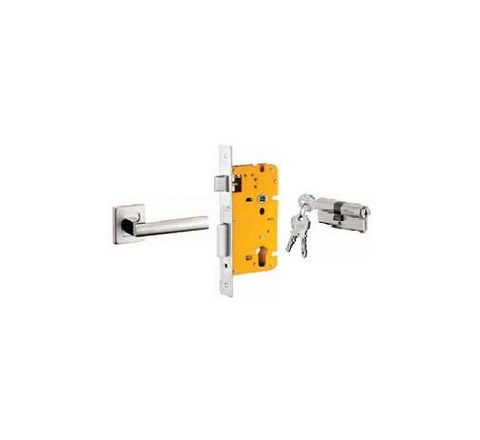 Dorset 60 mm Lever Handle Lock Set with Both Side Key Cylinder Stainless Steel ML CAR OR