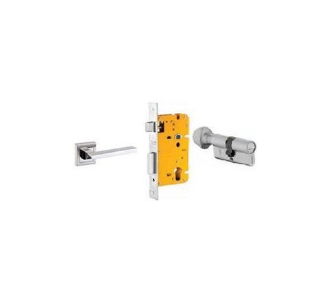 Dorset 70 mm Lever Handle Lock Set with Coin and Knob Cylinder Stainless Steel ML PIE OR