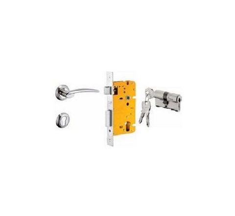 Dorset 60 mm Lever Handle Lock Set with Both Side Key Cylinder Silver Chrome ML LET OR
