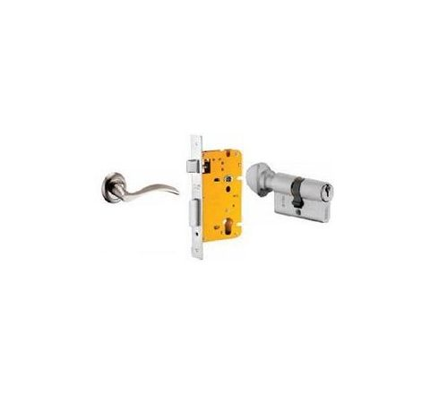 Dorset 60 mm Lever Handle Lock Set with Knob and Key Cylinder Silver Chrome ML SER OR