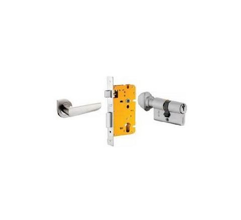 Dorset 60 mm Lever Handle Lock Set with Knob and Key Cylinder Stainless Steel ML AMY OR