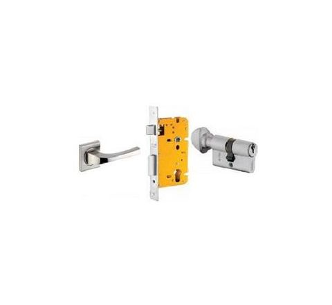 Dorset 70 mm Lever Handle Lock Set with Knob and Key Cylinder Stainless Steel ML DV OR