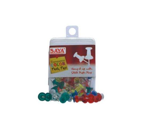 Saya Push Pins Transparent Colors (50 Pc) Pack Of 12 Box SY-PP52