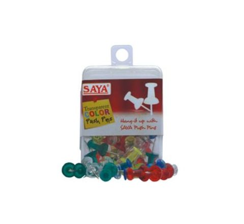Saya Push Pins Round Transparent Colors Pack Of 24 Box SY-PP54