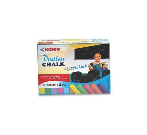 Kores Calcium Carbonate Chalk Coloured - 10 Nos