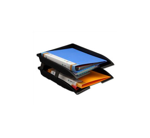 Solo Paper and File Tray Black 2 Compartments TR 112