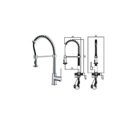 Jayna Pull Out Brass Single Lever Kitchen Faucets - JKF 08