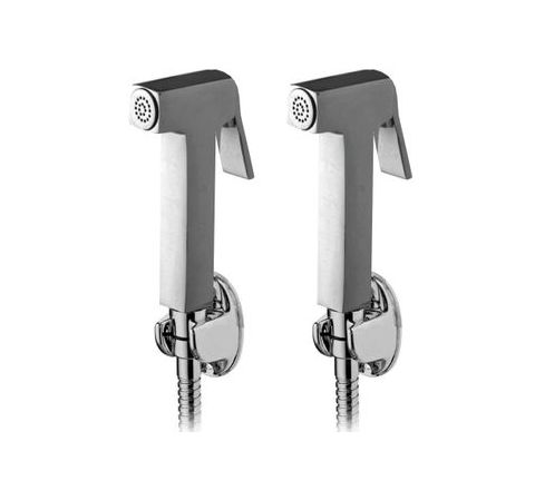 Snowbell Square Health faucet With Tube and Hook Set of 2 Piece