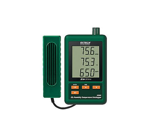 EXTECH CO2/Humidity/Temp Datalogger 10 to 95% 2G SD Memory Card Triple Line LCD