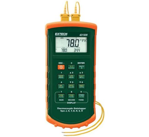 Extech 421509 Temp. Range 0 to 1767°C Dual Input Datalogging Thermometer