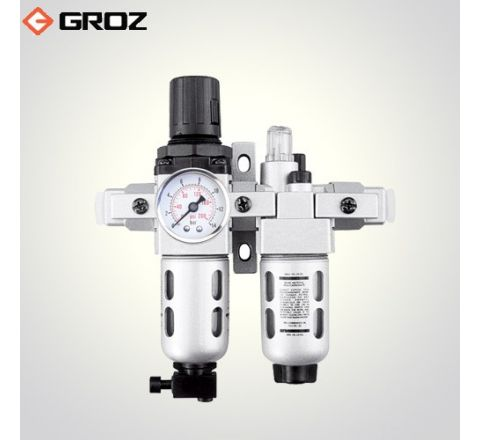 Groz 1/4 NPT Filter  Regulator Lubricator  2 Pc with Pressure Gauge FRCLM139134 S/G_le_ala_004
