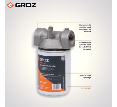 Groz 10 Microns Fuel Filter  Spin On Cartridge Style FF/FFS/10_le_fe_004
